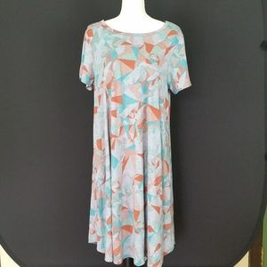 Lularoe Carly Dress Gray/Orange Geometric Size XL